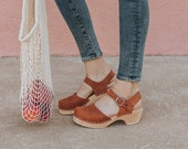 Swedish Clogs Low Wood Brown Oiled Leather by Lotta from Stockholm Wooden Clogs Sandals Low Heel Mary Jane Shoes