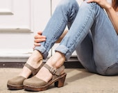 Swedish Clogs Highwood Taupe on Brown Base Leather by Lotta from Stockholm Wooden Clogs Summer Sandals Clog Sweden
