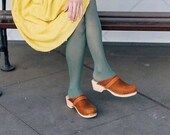 Swedish Clogs Sweden Classic Brown Oiled Nubuck Leather by Lotta from Stockholm Wooden Clogs Handmade Mules Low Heel Shoes Sweden