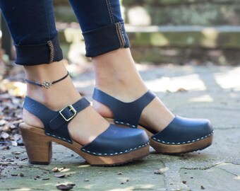 6002a213e16b55 Swedish Clogs Highwood Navy Brown Base Sole Leather by Lotta from Stockholm    Wooden Clogs   Summer Sandals   High Heel Shoes   Sweden