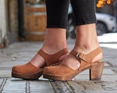 Swedish Clogs Highwood Brown Oiled Brown Base Leather Lotta from Stockholm Wooden Clogs High Heel Mary Jane Shoes Sweden