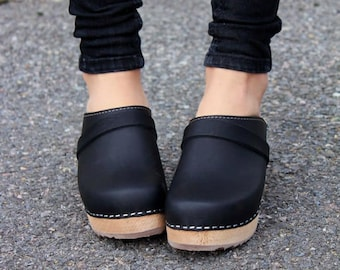 Swedish Clogs High Heel Classic Black Leather by Lotta from Stockholm / Wooden / Handmade / Mules / Women's / Sweden / lottafromstockholm