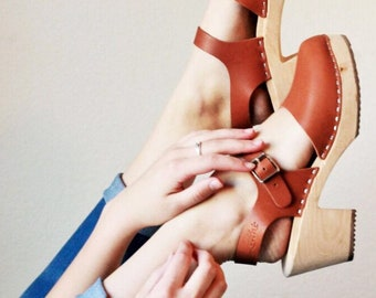 Swedish Clogs Highwood Tan Leather by Lotta from Stockholm / Wooden Clogs / Summer / High Heel / Mary Jane Shoes / lottafromstockholm