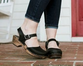 Swedish Clogs Sweden Low Wood Black Leather Brown Base by Lotta from Stockholm Wooden Clogs Sandals Low Heel Mary Jane Shoes