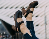Swedish Clogs Highwood Black Brown Base Sole Leather by Lotta from Stockholm Wooden Clogs Summer Sandals High Heel Shoes Sweden