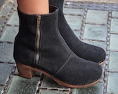 Swedish Wood Boot Clogs Emma Black Suede on Brown Base by Lotta from Stockholm Wooden Clogs High Heel Shoes Clogs Boots Sweden