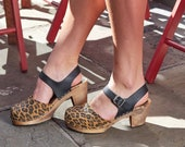 Swedish Clogs Highwood Leopard Brown Base Sole Leather by Lotta from Stockholm Wooden Clogs Summer Sandals High Heel Shoes