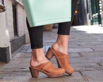 Swedish Clogs High Heel Classic Brown Oiled Nubuck Leather by Lotta from Stockholm / Wooden / Mules / Shoes / Sweden / lottafromstockholm