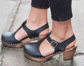 Swedish Clogs Sweden Highwood T-Bar Black Brown Base Leather by Lotta from Stockholm Wooden Clogs Sandals Mary Jane Shoes