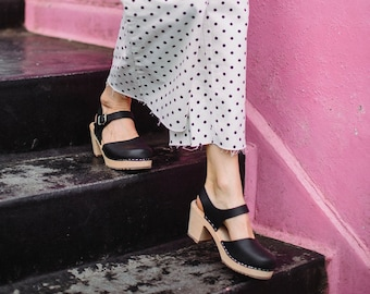 Swedish Clogs Highwood Black Leather by Lotta from Stockholm / Wooden Clogs / High Heel / Mary Jane / Handmade / lottafromstockholm