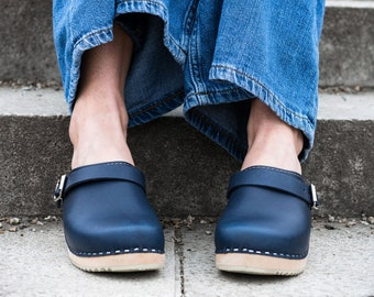 e33341e74812bf Swedish Clogs Classic Navy Leather With Strap by Lotta from Stockholm    Wooden Clogs   Handmade   Mules   Low Heel Shoes