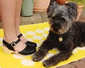 Swedish Clogs Low Wood Black Leather by Lotta from Stockholm Wooden Clogs Sandals Low Heel Mary Jane Shoes