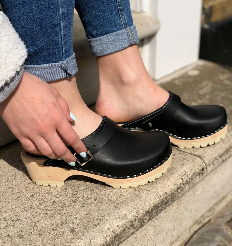 91db16baee8 NEW Swedish Clogs Classic Black Leather on Tractor Base by Lotta from  Stockholm / Wooden Clogs / Handmade / Mules / Low Heel Shoes / Sweden