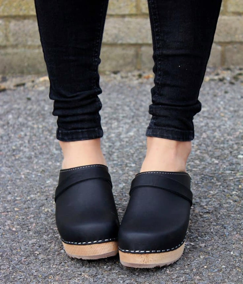 399292d7e06 Swedish Clogs High Heel Classic Black Leather by Lotta from Stockholm /  Wooden / Handmade / Scandinavian / Mules / Women's Shoes / Sweden