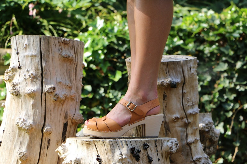 75f05037f18 NEW Swedish Clogs Peep Toe Spruzzato Natural Leather by Lotta from  Stockholm / Wooden Clogs / High Heel / Sweden / Handmade / Summer