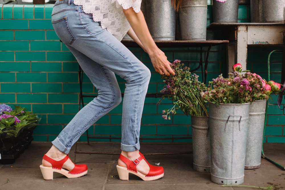 6041a35eff2 Swedish Clogs Highwood T-Bar Red Leather by Lotta from Stockholm / Wooden  Clogs / Sandals / High Heel / Mary Jane Shoes / Sweden