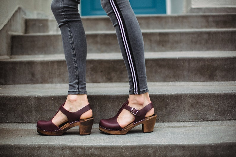 d297950c64f7a Swedish Clogs Highwood T-Bar Aubergine Brown Base Leather by Lotta from  Stockholm / Wooden Clogs / Sandals / High Heel / Mary Jane Shoes