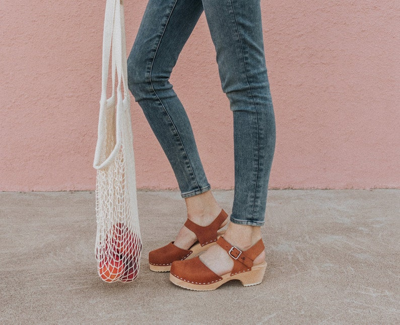 458440fbb49 Swedish Clogs Low Wood Brown Oiled Leather by Lotta from