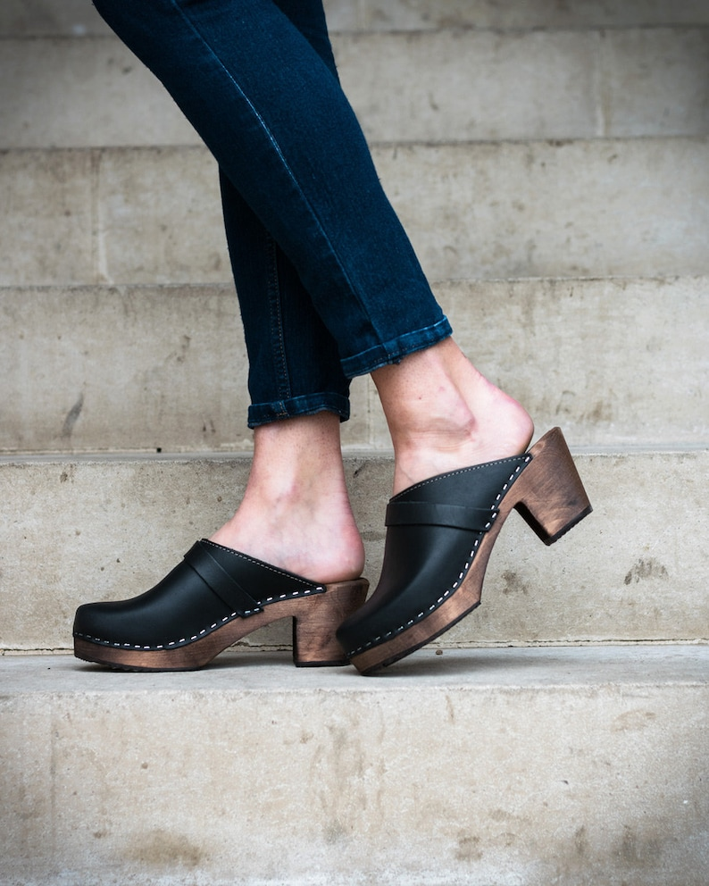 e49dac55cc5 Swedish Clogs High Heel Classic Black on Brown Base Leather by Lotta from  Stockholm   Wooden   Clog Sandals   Scandinavian   Sweden