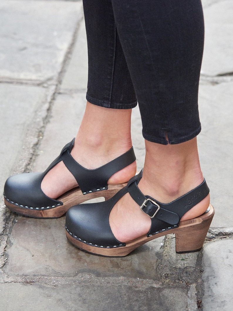 1db25392d17 Swedish Clogs Sweden Highwood T-Bar Black Brown Base Leather by Lotta from  Stockholm / Wooden Clogs / Sandals / Mary Jane Shoes