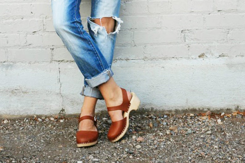 b9d63efcb1a08 Swedish Clogs Low Wood Tan Leather by Lotta from Stockholm