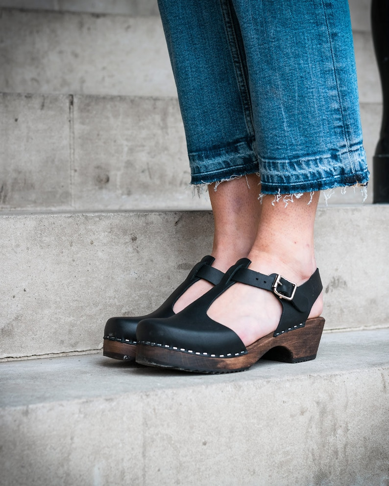 aa8676c469a96 Swedish Clogs Sweden Low Wood TBar Black Leather Brown Base by Lotta from  Stockholm / Wooden Clogs / Sandals / Low Heel / Mary Jane Shoes