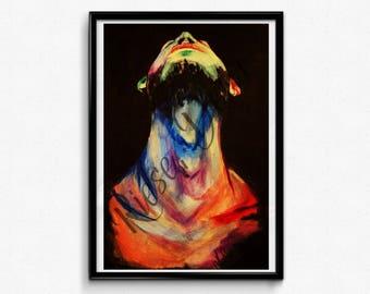 Man Looking Up. Colourful Pop art print. Choose a size! A4, A3, A2, A1