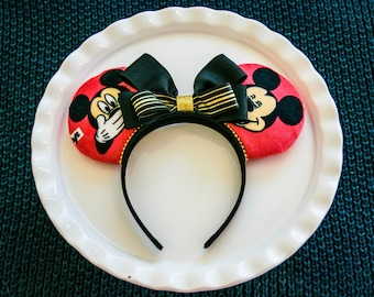 Mickey Ears Headband, Mickey Mouse Ears, Minnie Mouse Ears, Classic Mickey, Disney Ears, Red and Black, Mickey Mouse