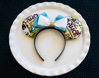 Mickey Mouse Ears, Mickey Ears Headband, Alice in Wonderland Ears, Disney Ears, Tea Party Ears, Minnie Mouse Ears