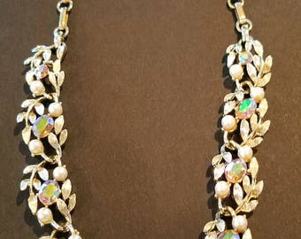 Vintage Rhinestone and Faux Pearl Necklace