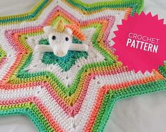 Crochet Unicorn Lovey Pattern, crochet star blanket pattern, crochet star lovey pattern, unicorn lovey pattern, unicorn security blanket