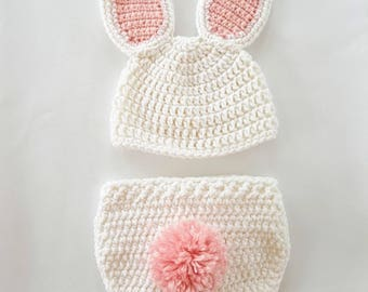 f2853f470ca Crochet newborn Easter bunny photo prop outfit