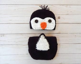 927ddaf013adc Crochet Newborn Penguin Costume Baby Penguin Outfit Crochet Penguin Suit  Penguin Halloween Newborn Photo Prop Babyu0027s 1st Halloween