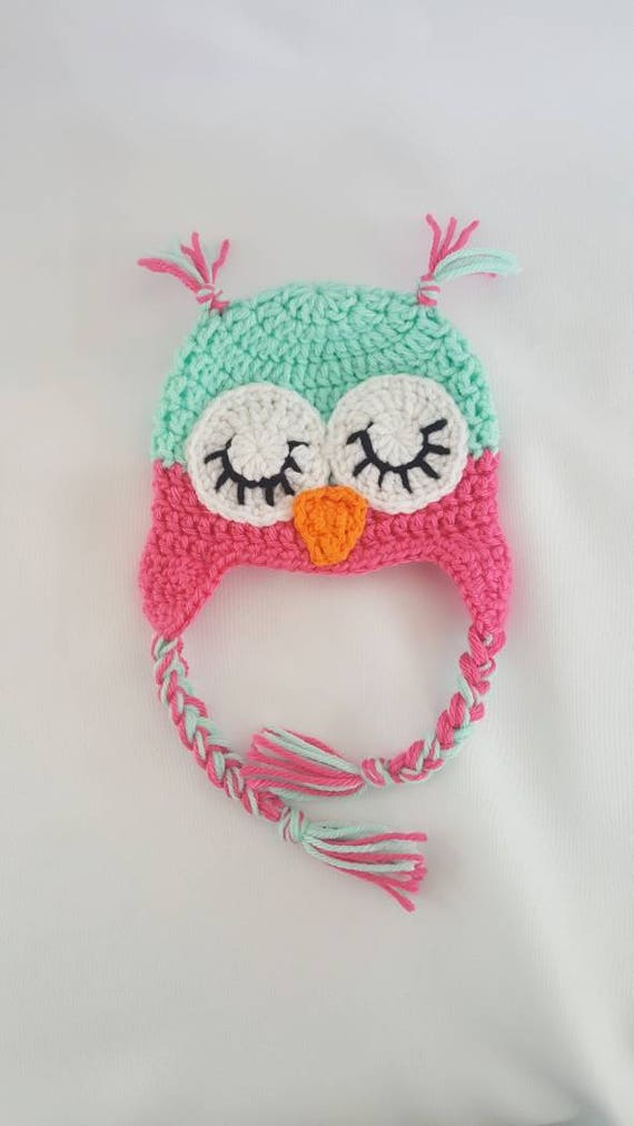 Crochet newborn sleeping owl photo prop hat crochet baby hat  0dee6d879296