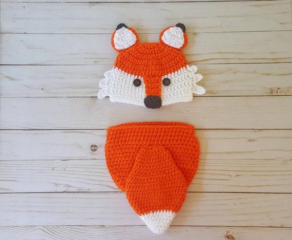 Crochet newborn fox outfit woodland fox outfit newborn photo  8343680743e