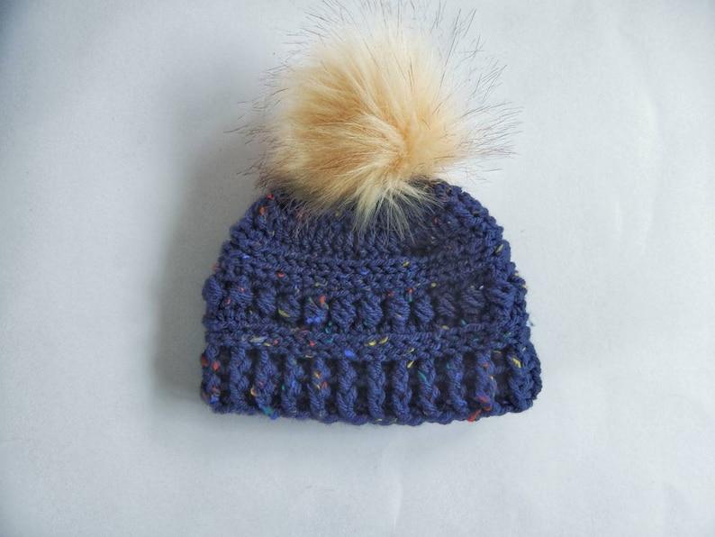 b07cf15a949 Crochet baby navy fleck pom pom hat winter navy hat crochet