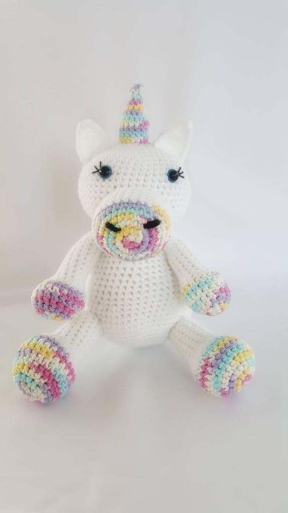 Large Crochet Unicorn Stuffed Animal Crochet Unicorn Stuffy Etsy