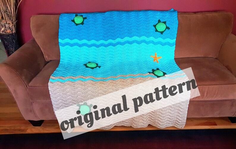 Crochet Sea Turtle Blanket Pattern Nursery Blanket Baby Etsy