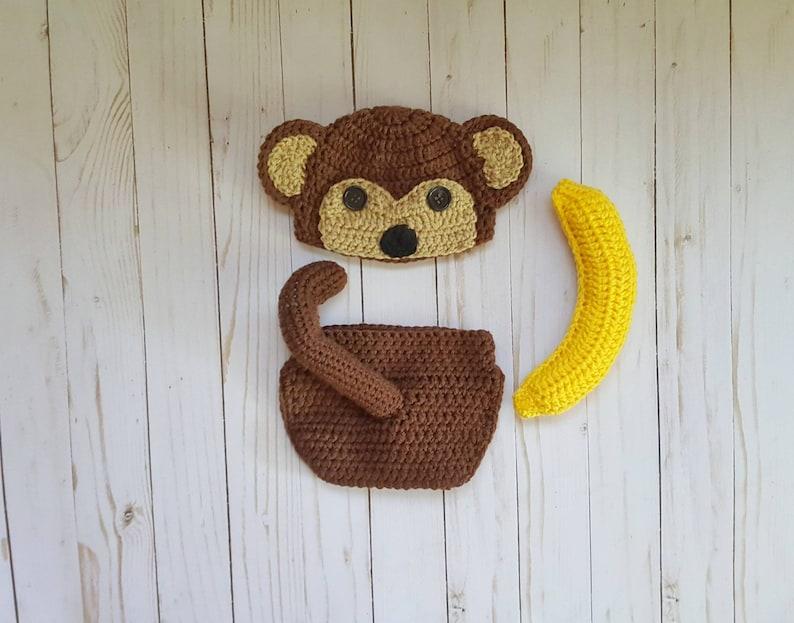 806db38d5f3 Crochet newborn monkey costume newborn monkey outfit newborn