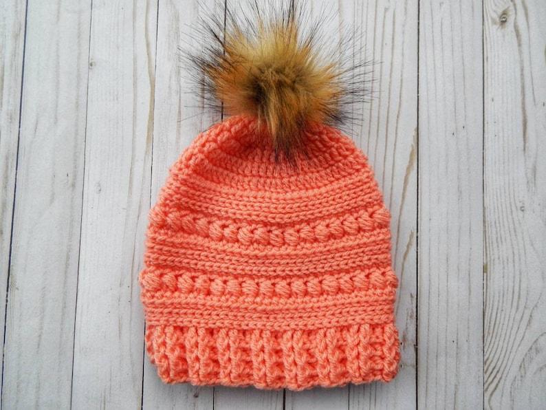 312f688ce29 Crochet peach slouchy pom pom hat winter peach hat crochet