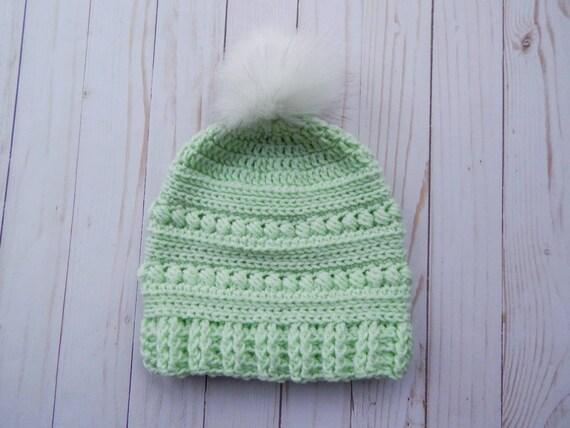3f402c33733 Crochet mint slouchy pom pom hat winter mint hat crochet