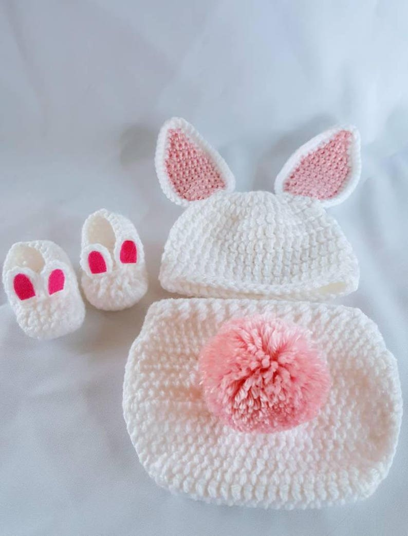 Crochet newborn Easter bunny photo prop outfit baby bunny  7dd080f19c6d