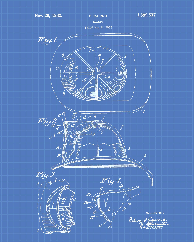 Firemen Patent Wall Art Prints Set of 4 Firefighter Tools