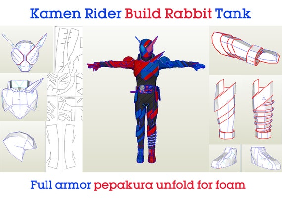 Kamen Rider Build Rabbit Tank Full Armor Pepakura Unfold For Etsy