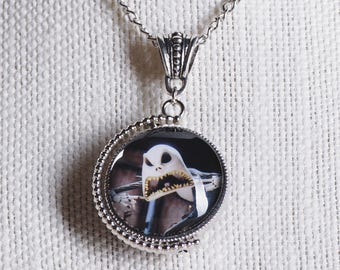 Nightmare Before Christmas inspired double-sided/spinning Jack, Lock, Shock, Barrel image pendant necklace