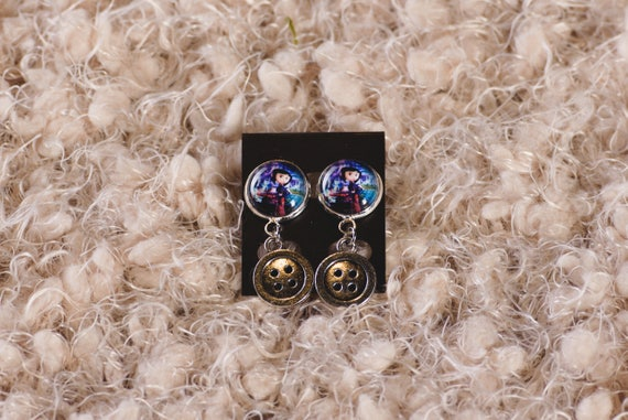 Coraline Inspired Earrings With Button Charms Etsy