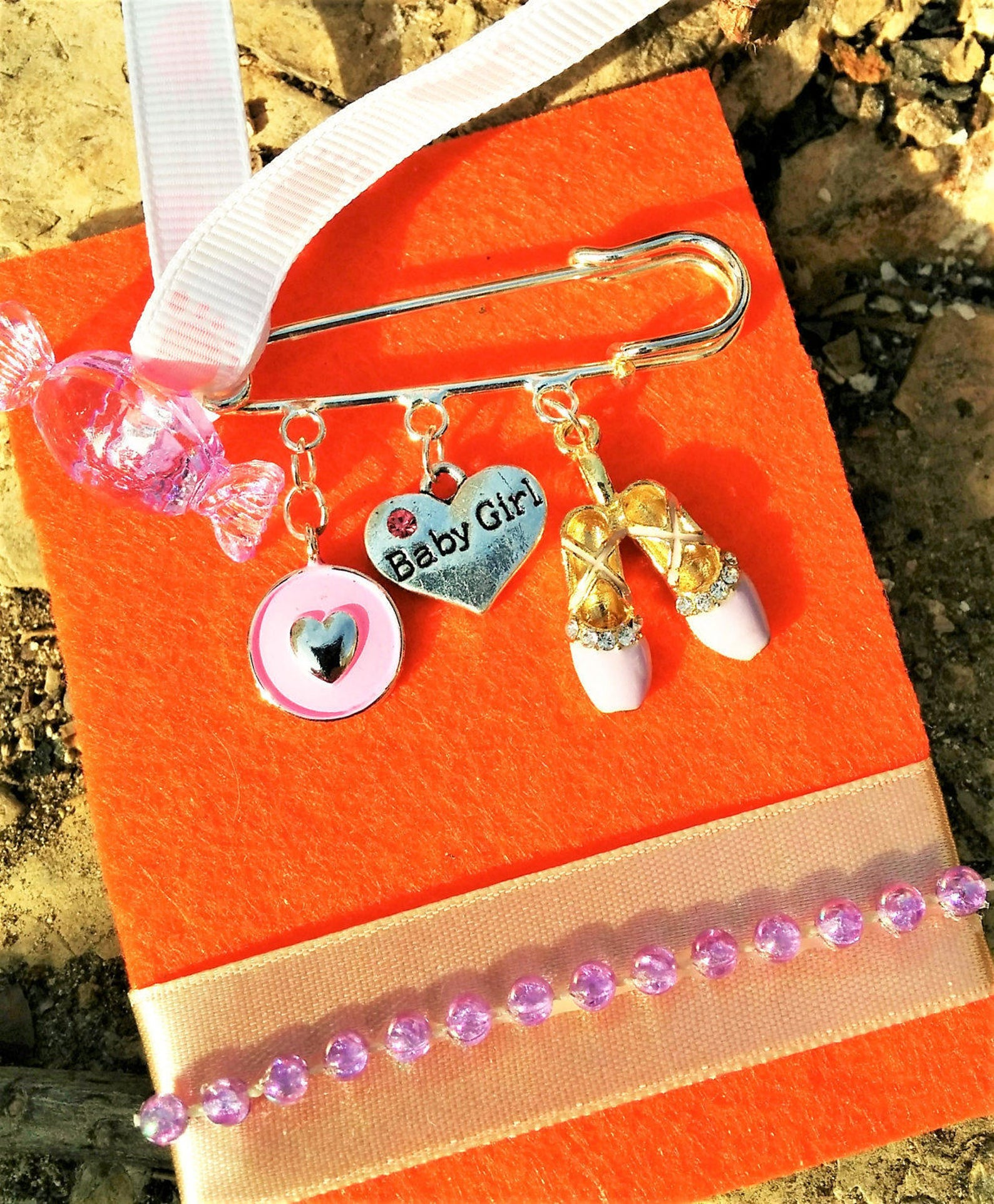newborn/ baby girl/ new mom/ safety pin/ gift/ baptism/ baby shower/ ballet shoes/ evil eye/ charms/ heart/ candy bead/ footstep