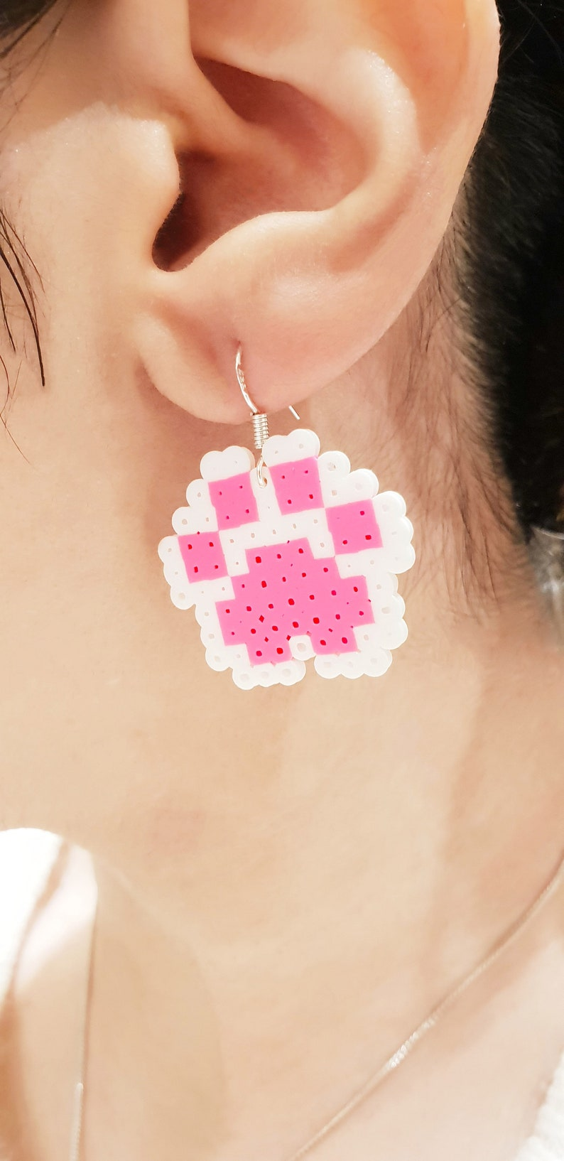 Paw earrings Perler
