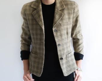Vintage Clothing / Wool Blazer / 80s Women's Plaid Neutral Wool Blazer Jacket / 1980s Blazer / Vintage Clothing / Plaid Blazer Vintage 80s