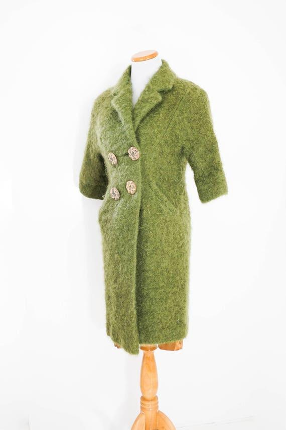 Green Boucle Coat / Vintage Moss Green Boucle Coat